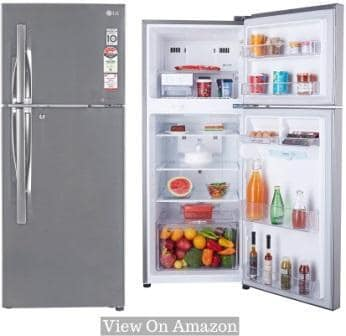 Best Refrigerators In India, LG 260L (GL-I292RPZL) 4 Star Frost-Free Double Door Fridge