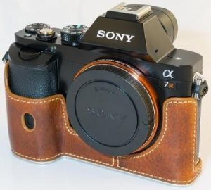 Black Colour Sony Alphar 7R Mirrorless Camera in Lether Cover