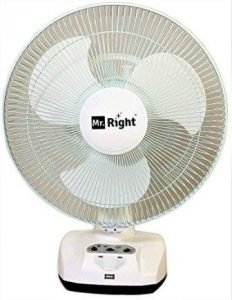 Mr. Right 3 Blade Oscillating High Speed Rechargeable Table Fan